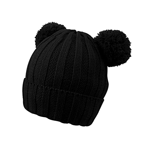 3a16deafd5717 JANGANNSA Warm Winter Baby Skull Hat Kids Boys Girls Knitted Pompom Beanie  Caps with Polyester Lined