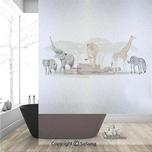 3D Decorative Privacy Window Films,Illustration of Wild Savannahs African Animals Exotic Giraffe Lion Elephant Zebra,No-Glue Self Static Cling Glass film for Home Bedroom Bathroom Kitchen Office 36x48