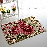 Sytian® 15.75*23.62 Inch Rural Rug Rose Flower Rug Decorative Doormat Floor Mat Bath Mat Bedroom Carpet Shaggy Area Rug Bathroom Shower Rug