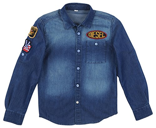 Diesel Kids Boys Clothing (Diesel Boy's Long Sleeve Button Down Denim Front Pocket Rebels Patches Shirt Dark Indigo Large)