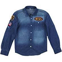 Diesel Boys Long Sleeve Button Down Denim Front Pocket Patches Shirt
