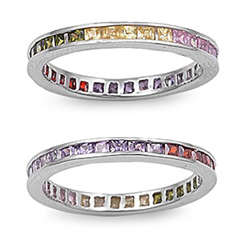 Multi Color Simulated Gemstones Eternity Wedding Anniversary Band .925 Sterling Silver Size 7 (Gemstone Multi Simulated)