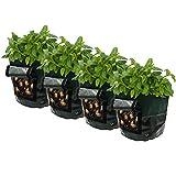 Potato Grow Bags, Frideko 4 Pack 7 Gallon Garden Grow Bags with Flap and Handles Aeration Fabric Pots Heavy Duty for Potato, Carrot, Tomato, Onion