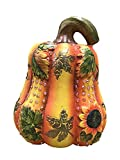Terracotta Pumpkin Figurine With Sunflowers, Leaves and Rhinestones 8 Inches