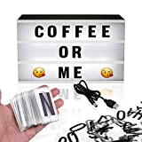Light Up Cinema Box - 165 Black & Coloured Character Letters & Emoticons - a4 led letter board sign - party gift decor lamp with extra emoji for photo message - Ideal for Displaying Messages at Home or Office for Christmas Halloween etc