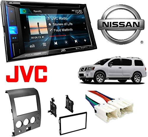 JVC KW-V25BT Double Din BT in-Dash DVD/CD/AM/FM Stereo CAR CD Stereo Receiver Dash Install MOUNTING KIT Wire Harness Nissan Titan Armada 2004-2007