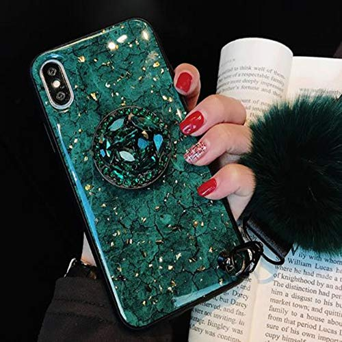 iPhone 8 Plus Shiny Ring Stand Case with Fur Ball,Aulzaju iPhone 7 Plus Super Bling Beauty Soft TPU Air Cushion Sparkle Case Cover for iPhone 7 Plus for Girls Wom(iphone 8 plus/7 plus 5.5 inch, Green)