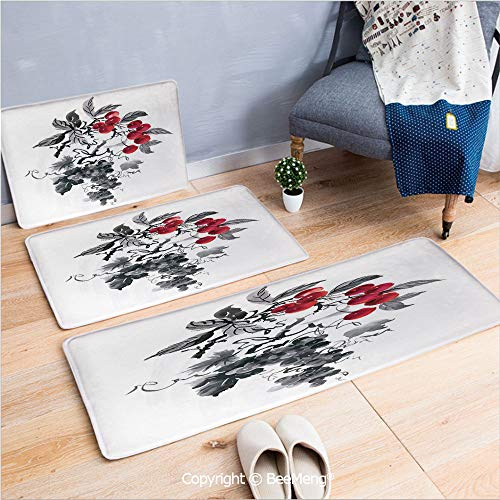 3 Piece Indoor Modern Anti-Skid Carpet Printed Block Bathroom Carpet,Rowan,Rural Nature Inspired Artistic Foliage Composition Wild Berry Plant with Leaves,Grey Ruby Black,20x31/20x59/28x55 inch