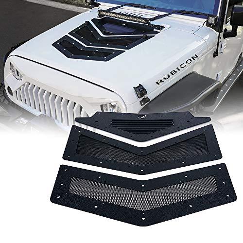 Xprite Black Viper Hood Vents & Louver for 07-18 Jeep Wrangler JK