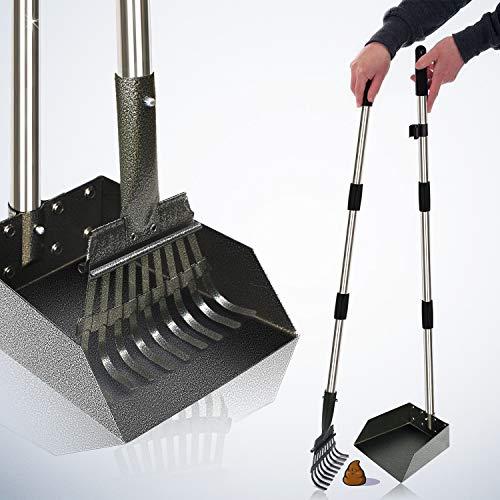 [2019 Upgraded] Metal Pooper Scooper Easy Pick Up Dog Poop Rake & Scoop Set with 37.4