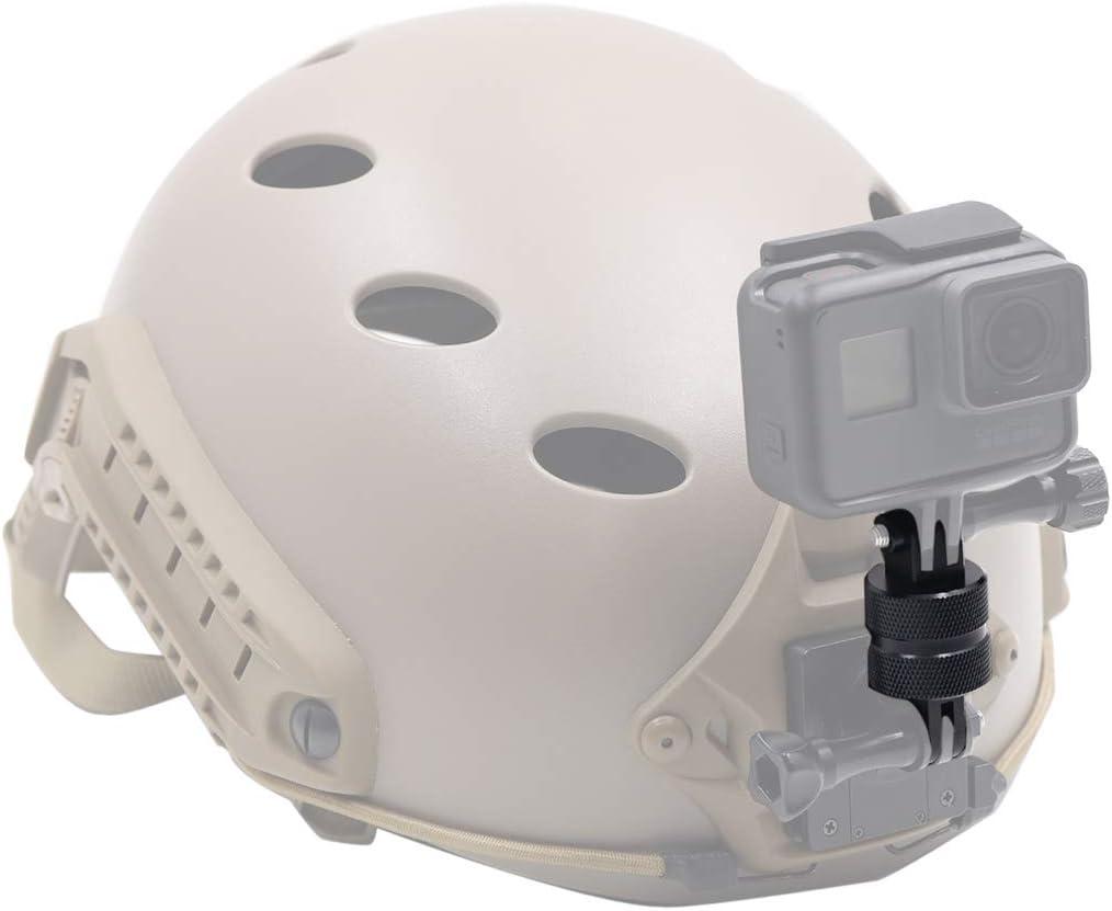 6 5 4 3 2018 AFFVO Helmet Ball Joint Mount Adapter Aluminum Compatible with GoPro Hero 8//7 Hero Black