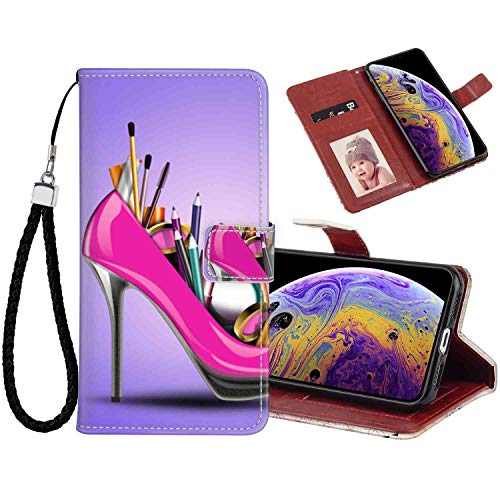 Phone Wallet Case Compatible for iPhone Xs Max [6.5-Inch] High-Heeled Shoes with Makeup 360 Protective (1/2 Inch 6 Heeled High)