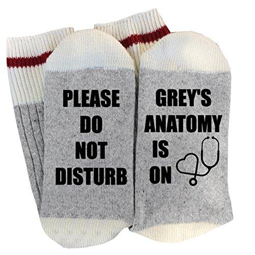 - Women's Cotton Letter Printed Winter Warm Thick Knit Funny Socks Cozy Crew Socks (Light Grey-2)
