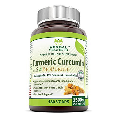 Herbal Secrets Turmeric Curcumin with Bioperine Dietary Supplement 1500 Mg per Serving, 180 Veggie Capsules (Non-GMO) – Supports Healthy Heart & Brain Function, Antioxidant & Anti-Inflammatory*