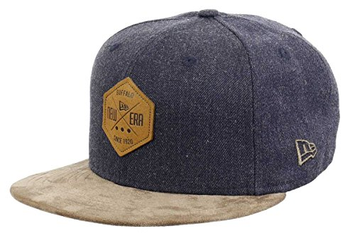 - New Era 59fifty Basecap Hexagon Patch Heather Indigo/Brown Suede - 7 3/8-59cm