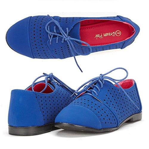 DREAM PAIR LEXINGTON-2 Women's New Casual Nubuck Upper Cut-Out Lace Up Oxford Flats Shoes Royal Blue Size 7.5