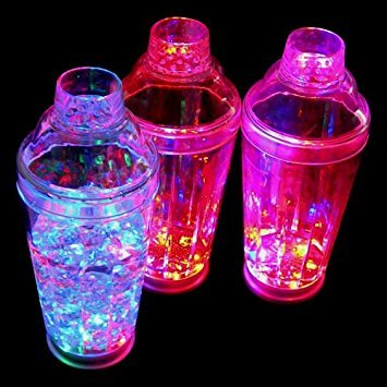 Premium LED Flashing Glow in the Dark Cocktail Shaker Martini Shaker for Mixed Drinks by D-II Trends ()