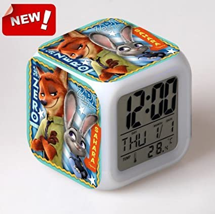 Amazon.com : Zootopia Electronic Desk Digital 7 Color Change Horse Desk Clock Relogio De Mesa Wake Up Light Plastic Reloj Zootropolis - a : Everything Else