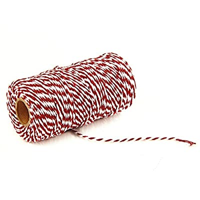 AKOAK Bakers Twine, 1 Roll 109 Yards Cotton Twine Packing String for Gift Wrapping, Crafts and Decoration (Red+White) : Office Products