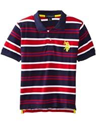 (新品)U.S. Polo Assn. 大马标男孩条纹POLO衫Striped Pique Polo $9.44