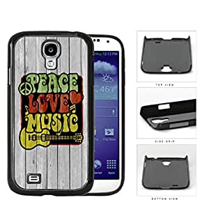 Peace Love Music Symbols In Rastafarian Colors Hard Plastic Snap On Cell Phone Case Samsung Galaxy S4 SIV I9500