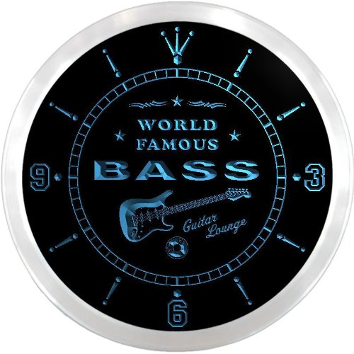 ncpf1456-b BASS Famous Guitar Lounge Beer Pub LED Neon Sign Wall Clock