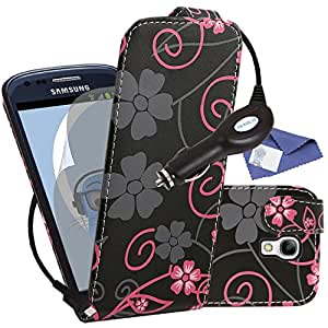 iTALKonline Samsung i9192 Galaxy S4 IV Mini Black Pink Flowers PU Leather Executive Multi-Function Vertical Flip Wallet Case Cover Organiser, LCD Screen Protector and 1000 mAh Coiled In Car Charger LED Indicator and Overload Protection