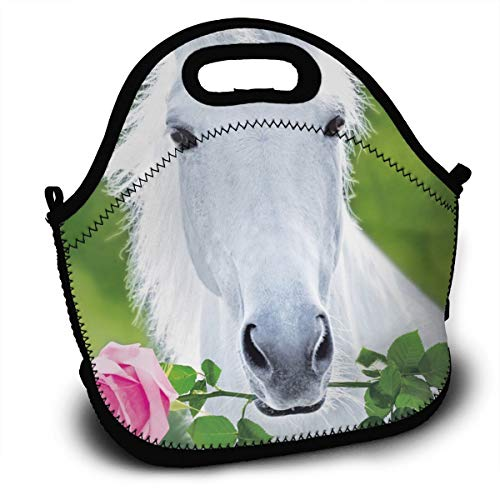 White Horse with Flower Adult Lunch Box Insulated Lunch Bag Tote Bag for Men Women Teens Boys Girls
