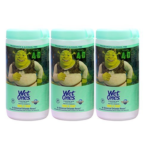 Wet Ones Sensitive Skin Hand Wipes, Shrek 4D, 40 Wipes/Pack, (Fragrance Free) (3 Pack)