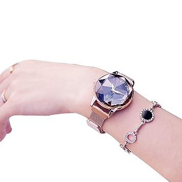 WAOBE Moda Reloj Mujer, Cristal Resistente Al Agua Relojes Señoras Magnética Pulsera Cuarzo Dial Señoras Reloj De Acero Inoxidable,Gold: Amazon.es: Deportes ...