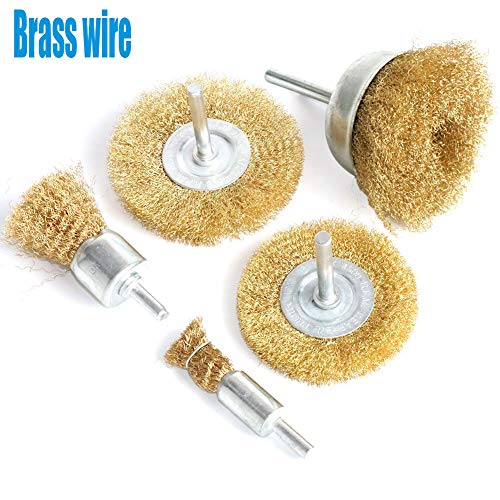 FPPO Brass Wire Wheel Brush Kit for Drill,Crimped Cup Brush with 1/4-Inch Shank,0.13mm True Brass Wire,Soft Enough to Cleaning or Deburring with Less Scrach
