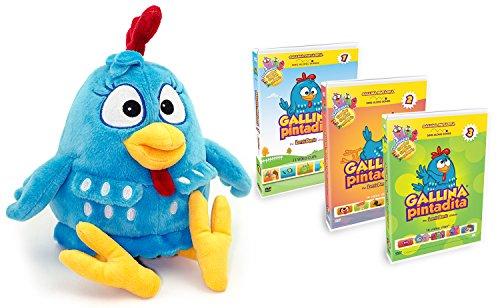 Combo Pack: Lottie Dottie Chicken Plush Toy + DVDs Multi-language Vol. 1 + 2 + 3