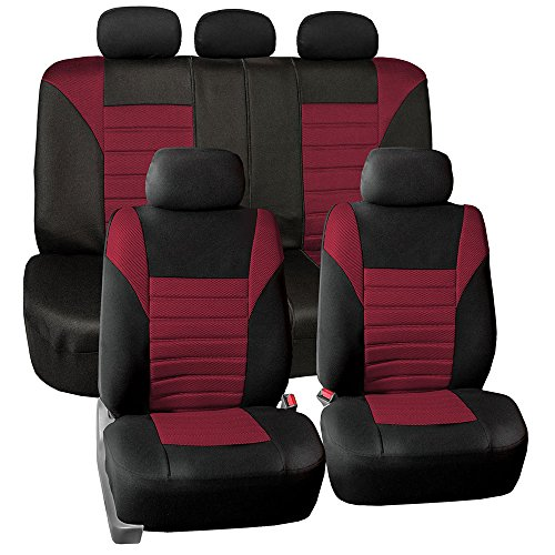 FH GROUP FH-FB068115 Premium 3D Air Mesh Seat Covers Full Set (Airbag & Split Ready), Burgundy / Black Color- Fit Most Car, Truck, Suv, or Van