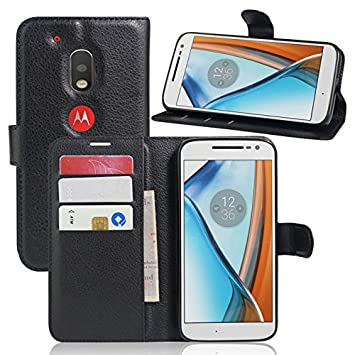 Excelsior Leather Wallet Flip Cover Case for Motorola Moto G4 Play   Black Cases   Covers