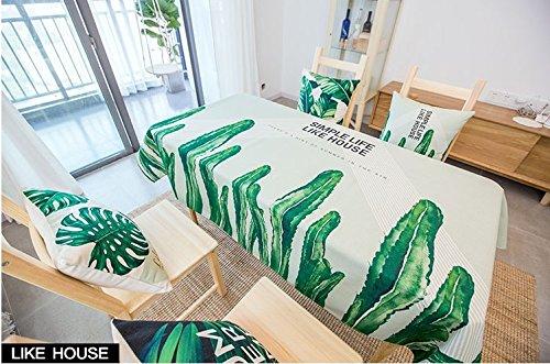 HXC Home 140  230 cm Beige verde Cactus scandinavo ins tovaglia da Tavolo da Pranzo in Cotone e Lino Garden Rettangolare Quadrato Non-Ironing Eco-Friendly Runner
