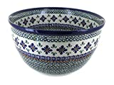 Polish Pottery Mosaic Flower Large Mixing Bowl