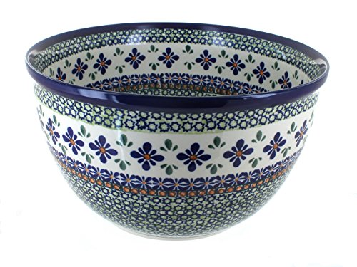 Polish Pottery Mosaic Flower Large Mixing Bowl by Zaklady