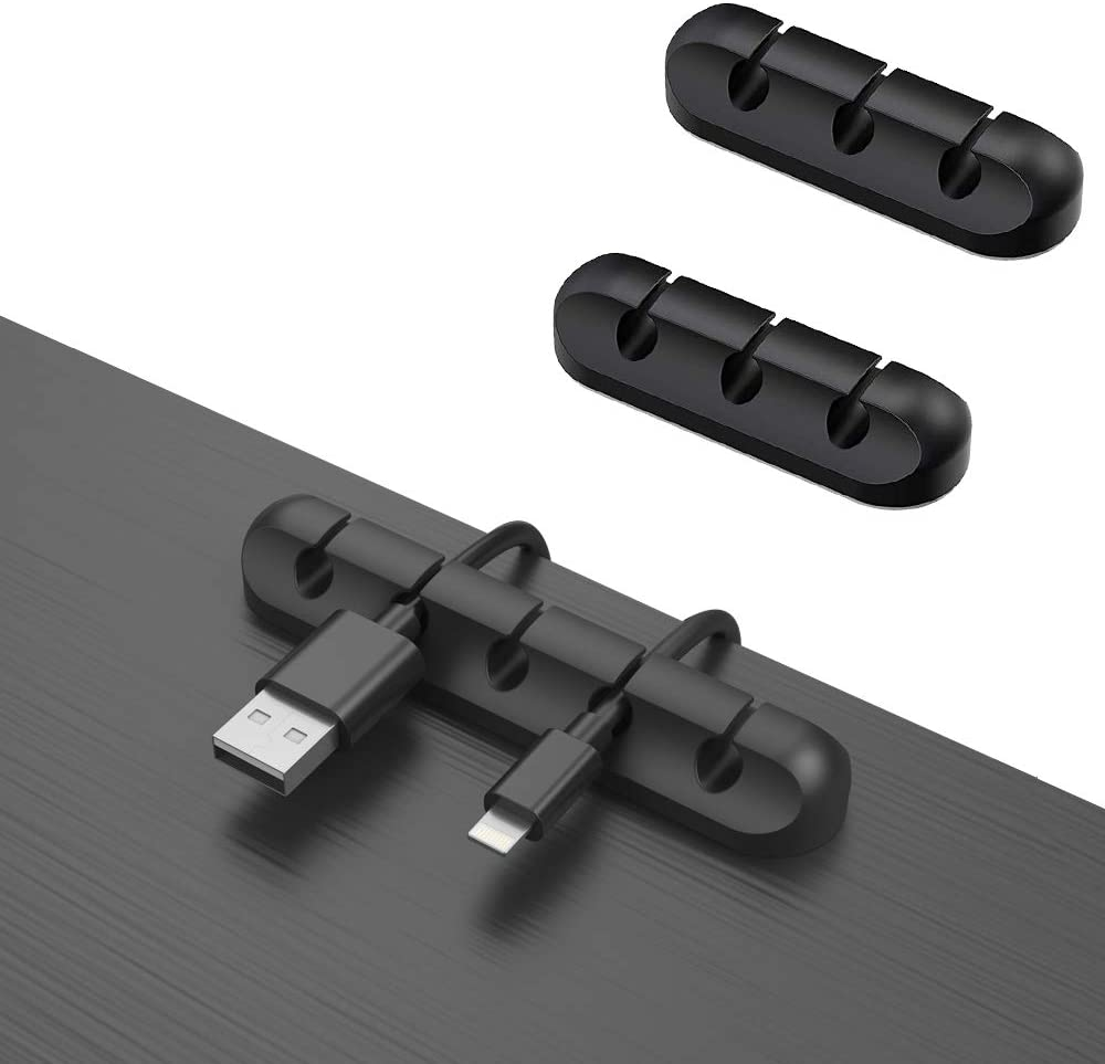3-Pack Cable Clips,Cord Organizer,Wire Cord Holder for USB Charging Cable,Mouse Cable,Power Cord,Silicone Cable Holder Clips Fit Home,Office,Cubicle,Car,Desk Accessories