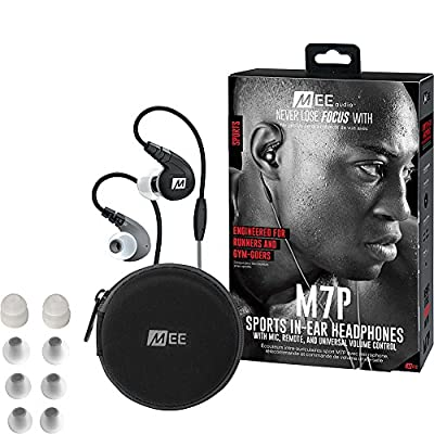 MEE audio M7P Secure-Fit Sports In-Ear Headphones with Mic, Remote, and Universal Volume Control(Red)