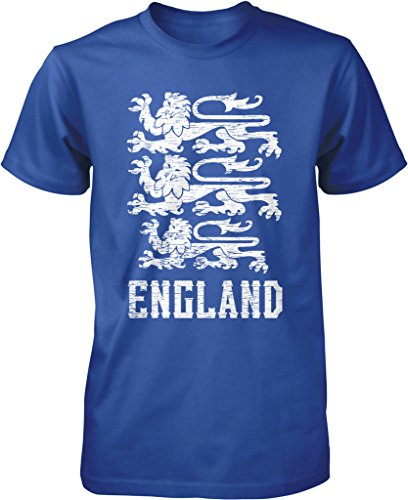 England, Coat of Arms, Royal Arms of England, Three Lions, Royal Banner Men's T-shirt, NOFO Clothing Co. XXXL Royal (Lions Fan Banner)