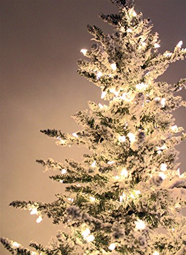 7'6'' Flocked Bavarian Pine, Artificial Prelit White Christmas Tree - Clear Lights Stay on if Bulb Burns Out! Natural Looking with Real-Like-Snow Color - Top Choice for Designers, Includes Storage Bag by Fine Expectations (Image #4)