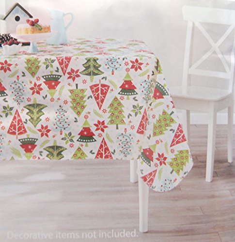 Cute Holly Poinsettia and Christmas Trees Holiday Vinyl Tablecloth, 52 X 70 In.