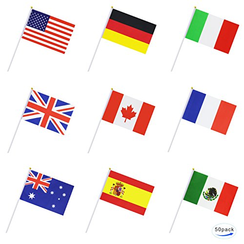 - Kind Girl 50 Countries Small Mini Flag International Flag Country Stick Flag Hand Held Round Top National Flags,Party Decorations Supplies for Parades,World Cup,Sports Events,International Festival
