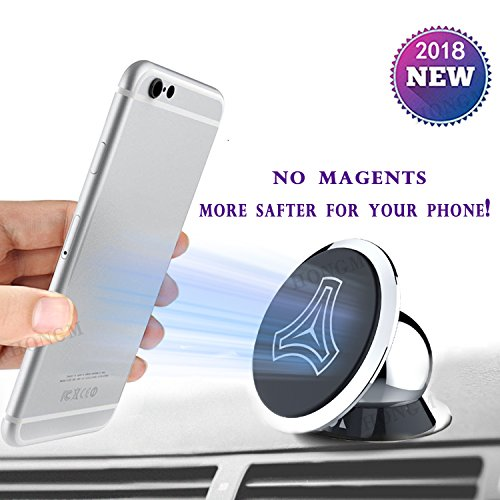 Magnetic Phone Car Mount ,Magnetic Cell Phone Holder for Car, 2018 Universal Magnetic Car Phone Mount Holder 360° Adjustable without Metal Plates for Cell Phones Smartphones and Mini Tablets