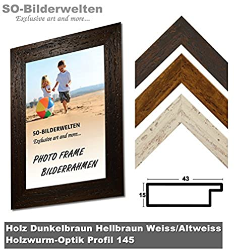 Woodworm Effect Wood Photo Frame Light Brown Light Brown White ...