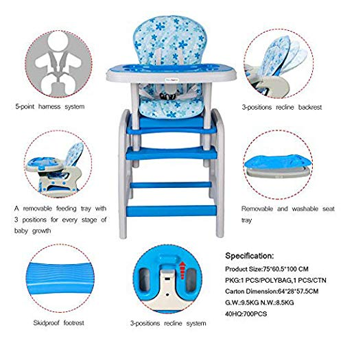 Dearbebe 3-in-1 Infant High Chair with Tray,Blue by Dearbebe (Image #1)