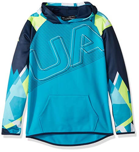 Under Armour Girls Armour Fleece Logo Hoodie, Deceit (439)/White, Youth X-Large ()