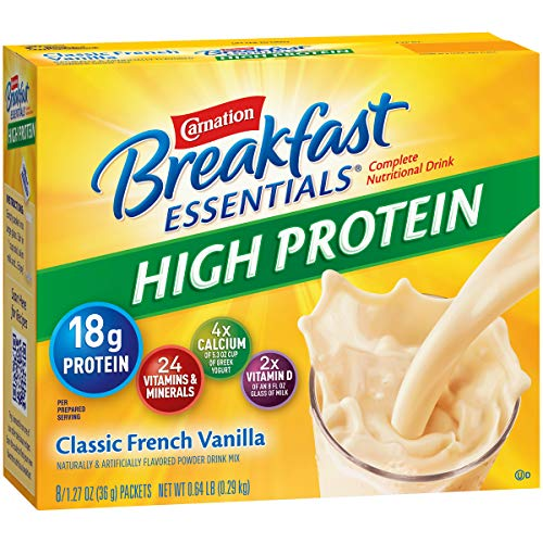 (Carnation Breakfast Essentials High Protein Powder Drink Mix, Classic French Vanilla, Box of 10 Packets (Pack of 6))