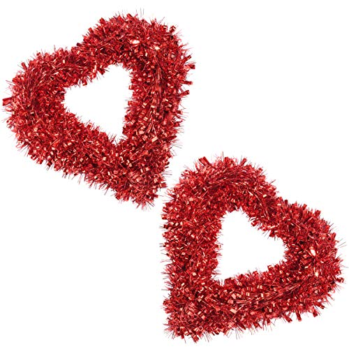 ElekFX Wedding Wreath 2Pack 17inch PVC Plastic Red Heart-Shaped Garland Wreath Vintage Art Wreath Valentines Wreath for Wedding Front Door Wall Party Home Décor -