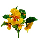 11'' Handwrapped Silk Pansy Flower Bush -Yellow (pack of 12)